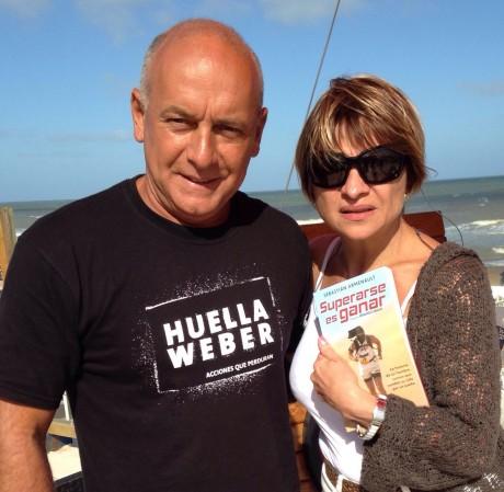 Con Marcela Feudale, junto al libro y la Huella Weber